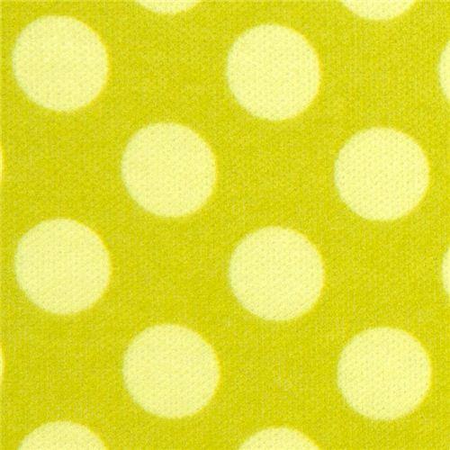 green Michael Miller knit fabric Ta Dot green dots