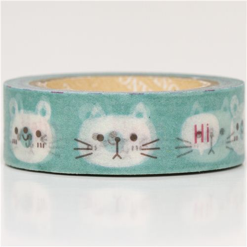 turquoise animal Washi Masking Tape deco tape cat rabbit