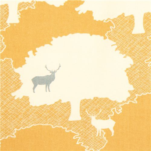 yellow forest stag animal canvas organic fabric birch USA