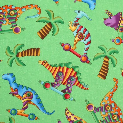 green dinosaur fabric Dinos On Parade USA designer