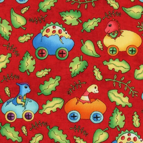 red dinosaur fabric Dinos On Parade USA designer