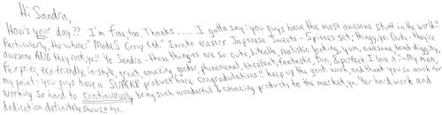 Very nice letter from a customer 1