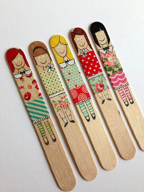 Get creative with Washi tape puppets. Courtesy of Precious Paper
