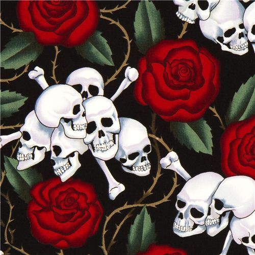 black Alexander Henry rose fabric with skulls