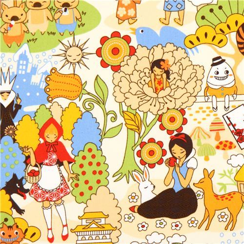 kawaii Japanese Anime fairy tale fabric beige Snow White