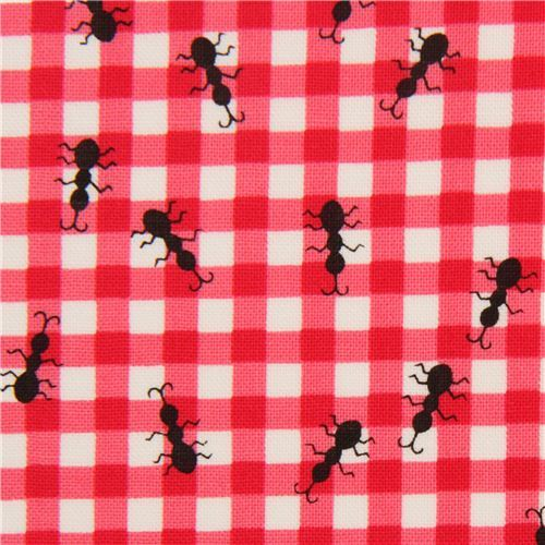ants on pink Gingham pattern fabric by Timeless Treasures