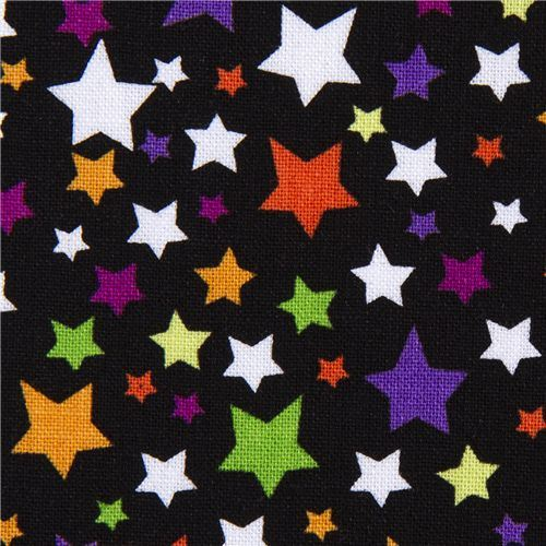 black Riley Blake Halloween fabric colourful stars