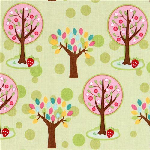 green Riley Blake fabric pink trees strawberry