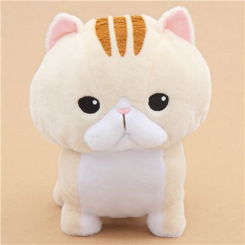 big cream cat with brown stripes Noseteru Munchkin plush toy Japan