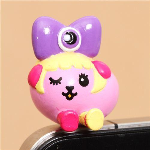 purple bow Mameshiba bean dog mobile phone earphone plug