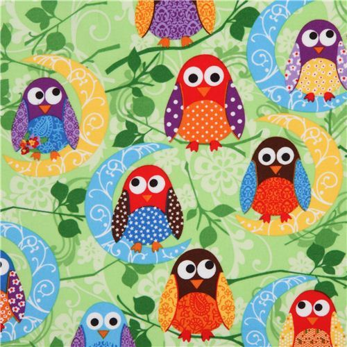 What a Hoot green moon owl flannel fabric designer fabric
