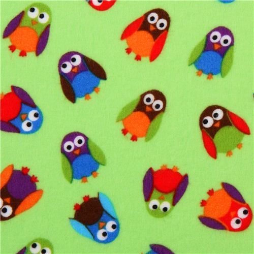 What a Hoot green owl flannel fabric designer fabric