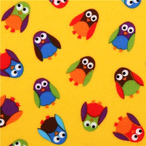 What a Hoot yellow owl flannel fabric designer fabric