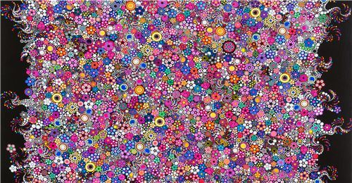 black Robert Kaufman fabric with colorful circles Effervescence