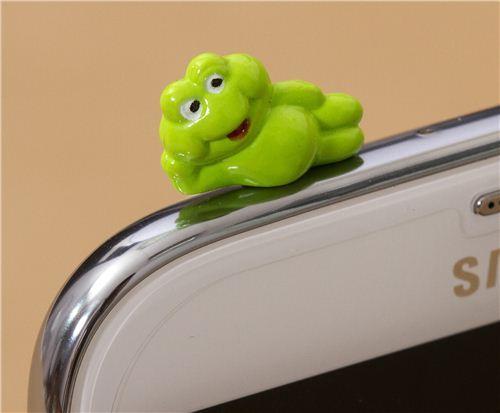 cute green frog mobile phone plugy earphone jack accessory