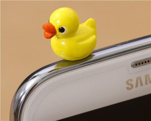 cute yellow duck mobile phone plugy earphone jack accessory