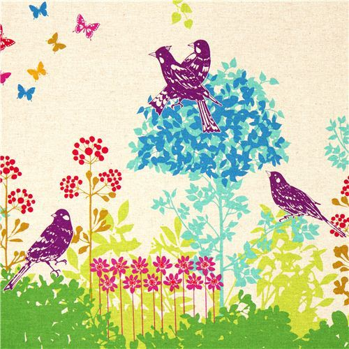 echino canvas fabric Wish green birds flowers