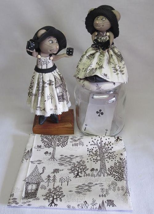 Creativity beyond borders. Our Japanese owl fabric makes cute dress for a French mouse.