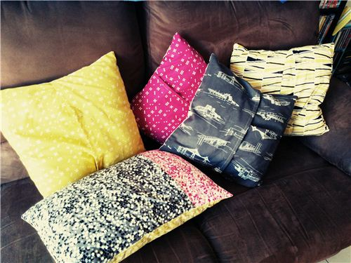 Lily from Australia used our Waterfront Park Fat Quarter bundle to sew new pillow covers