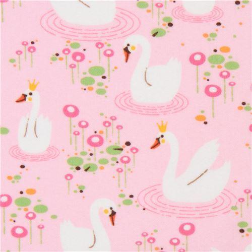 bird animal flannel fabric Robert Kaufman pink Swan Princess