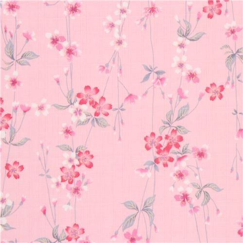 pink structured pink white cherry blossom flower leaf dobby fabric from Japan