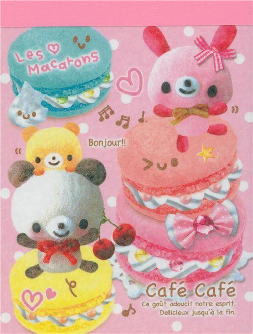 mini Memo Pad Cafe Cafe Bear Macaroons Japan kawaii