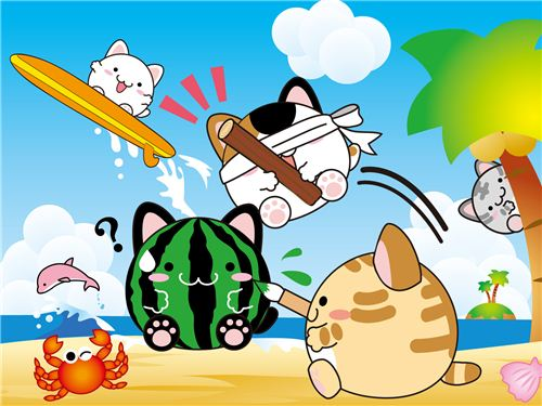 Fun at the beach on this narumeko wallpaper