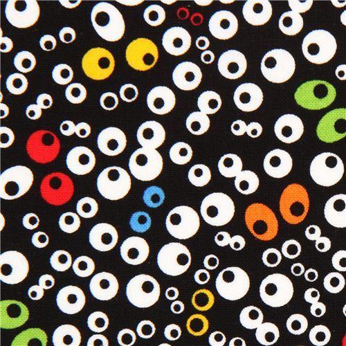 black Timeless Treasures eyes fabric