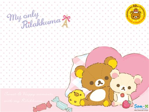 This Rilakkuma wallpaper is from the brand new My only Rilakkuma collection