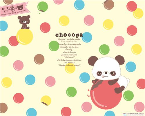 Colour up your life with this Chocopa bear wallpaper full of chocolate pills