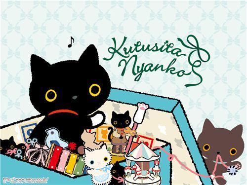 An adorable Kutusita Nyanko cat wallpaper