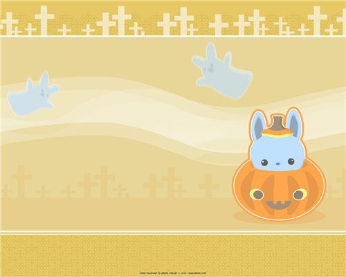 A very kawaii meomi Halloween wallpaper