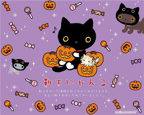 It's Kutusita Nyanko cat again - what a fun Halloween wallpaper