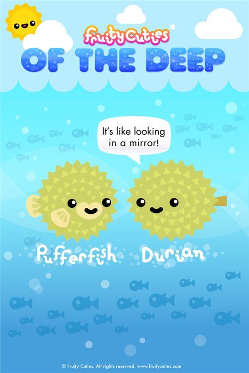 Durian Pufferfish Fruity Cuties iPod and iPhone wallpaper