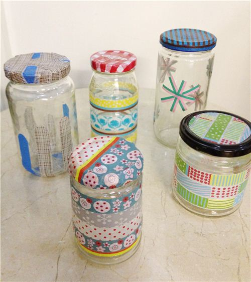 Bianca decorated all these jars with Washi Tapes