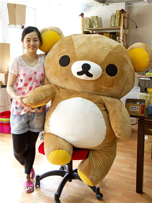 As happy as can be: Karen with our Rilakkuma office mascot