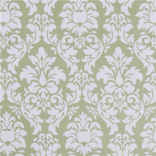 Michael Miller laminate fabric Dandy Damask green