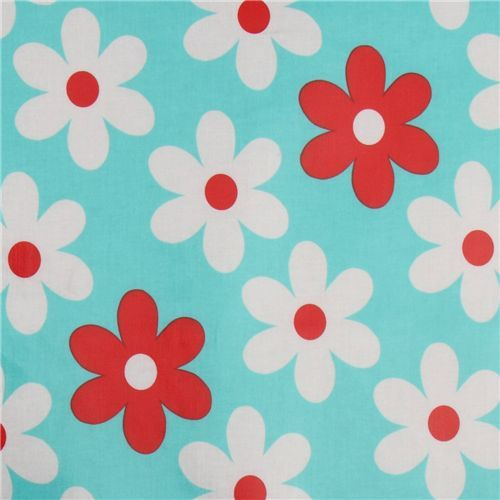 blue Michael Miller premium laminate fabric flowers