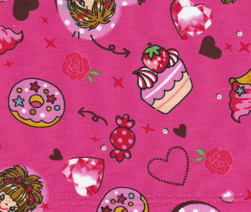 pink Japanese fabric with cupcakes, candy and more