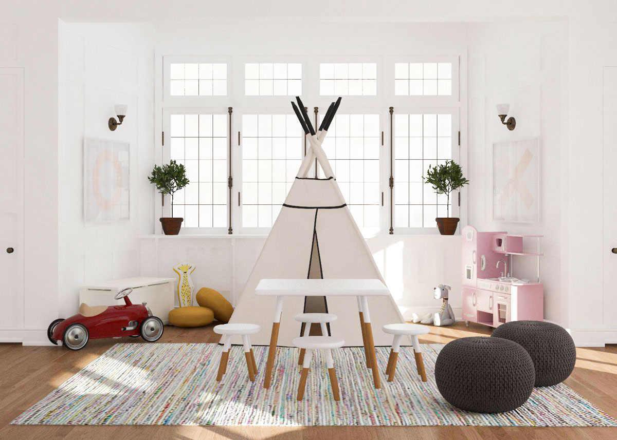 kids living room furniture big wall mirror for design ideas 8 ways to make your a playroom coffee tables in place of table they look nice and often last longer so you can repurpose them easily once the play area is no needed