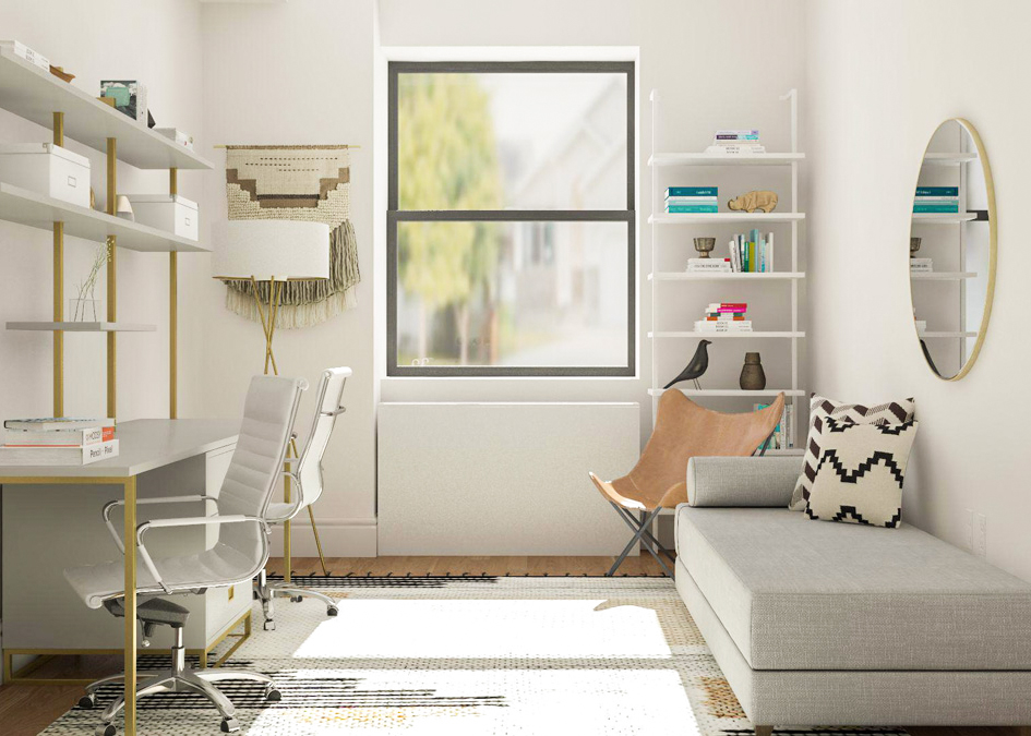 home office in living room ideas elephant decor simple meets guest decorating modsy blog for a medium space