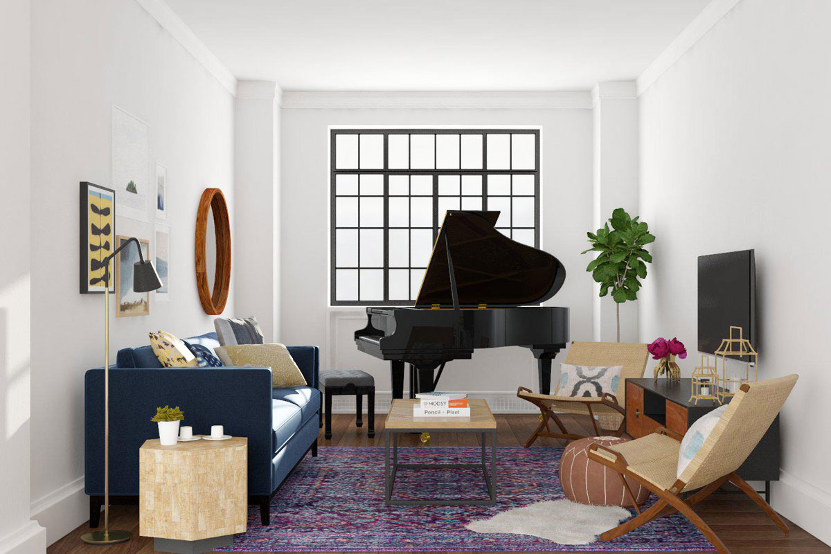Living Room Layout With Piano And Tv