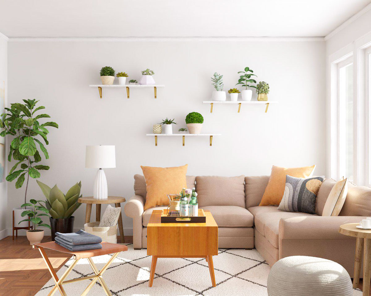 living room decor with plants gray and tan 5 simple ways to decorate modsy blog 1 liven up dead corners