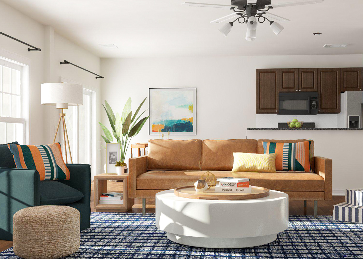 living room layout without coffee table artwork for grey guide open space ideas modsy blog idea 1 the flow