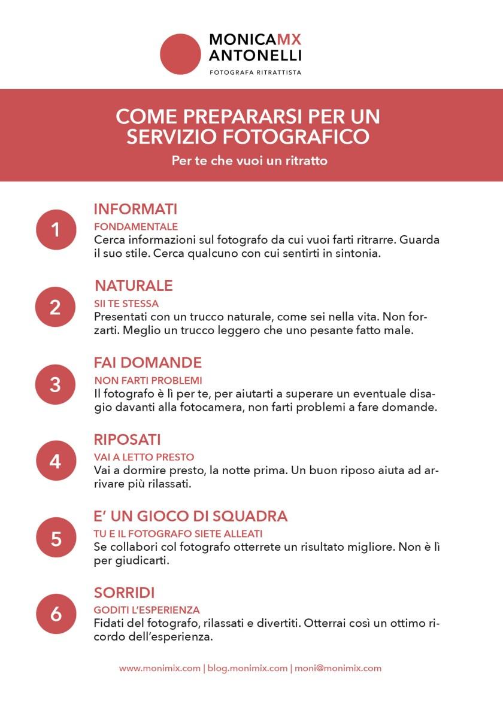 """Infografica """"Come prepararsi per un servizio fotografico"""", per la persona che vuol farsi ritrarre"""