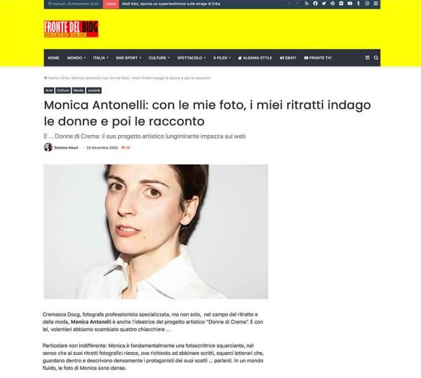 L'intervista a Monica Monimix Antonelli pubblicata su Fronte del Blog
