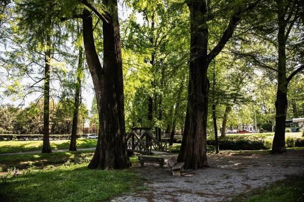 """I Giardini di Piazza Rimembranze a Crema (Cr) il luogo scelto da Jennifer per il suo ritratto per il progetto """"Donne di Crema"""" (C)Monica Monimix Antonelli"""