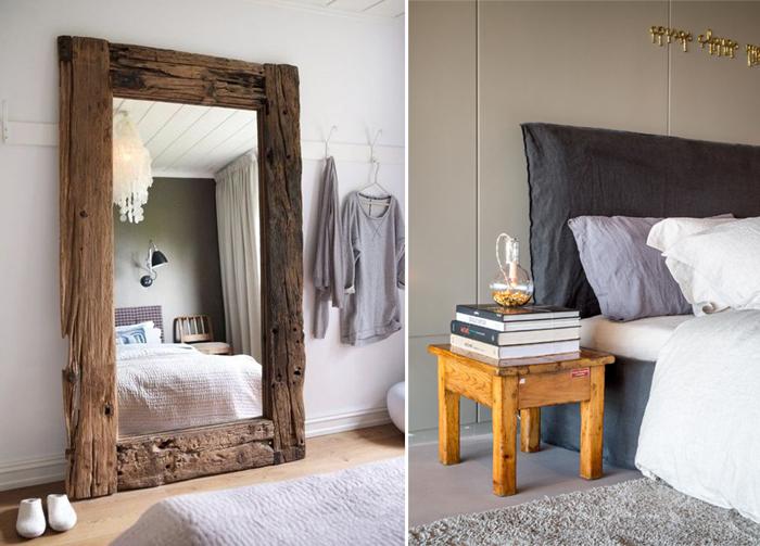 decoração de quarto com móveis rústicos espelhos