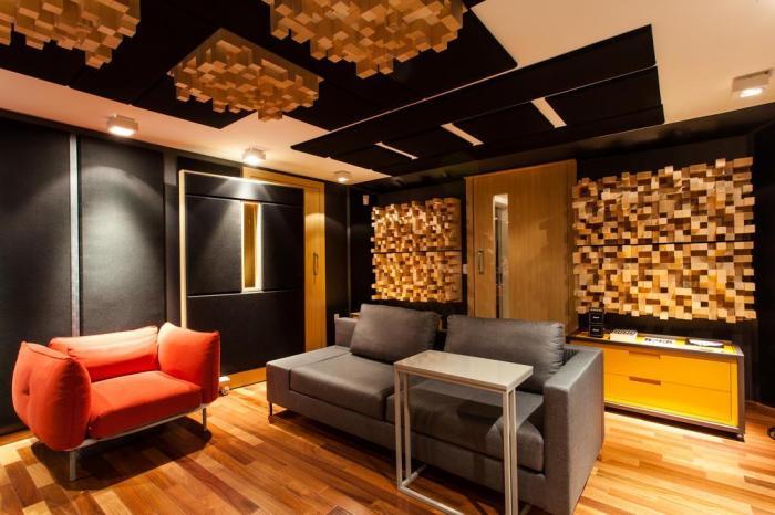 montar estúdio musical revetimento de madeira