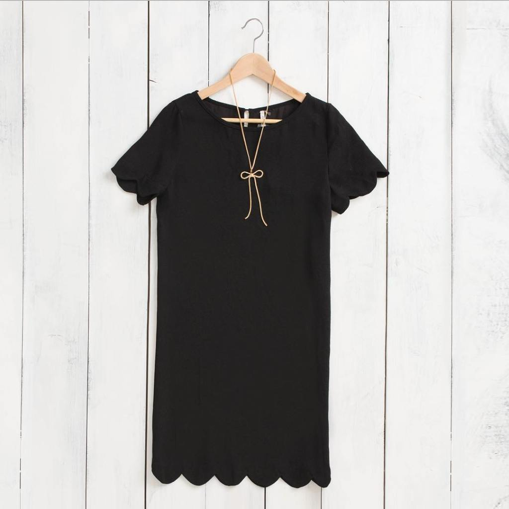 Our Victoria Black Scallop Shift Dress is a timeless piecehellip